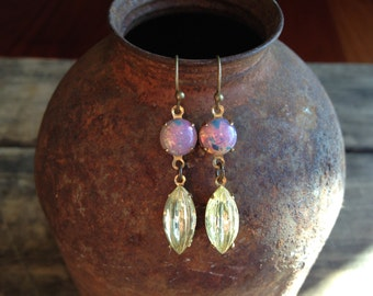 Vintage fire opal glass and ribbed jonquil glass dangle earrings