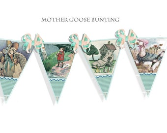 Printable Fairytales Mother goose banner bunting in teal green great for child's room craft project printable