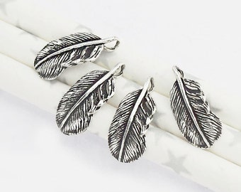 4 of 925 Sterling Silver Oxidized Feather Charms  7x14.5 mm. :th1481