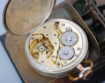 SALE... Antique pocket watch, silver 0,800 mechanical watch Remontoir Ancre Ligne Droite Sensation