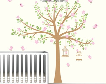 Nursery Kids Wall Decal-Tree Decal with Flowers-Birdcages-Birds-Wall Decals-Wall Sticker-Baby Decor-e66