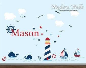 Nursery Name Wall Decals-Nautical wall decal-sea light house decals-sail boat wall decal-anchor decals-ocean wall decal-wall stickers