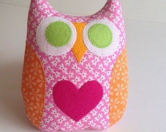 Personalized Owl Tooth Fairy Pillow - Pink with Orange Wings