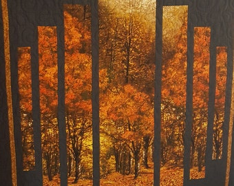 Quilted Lap Quilt or Throw - Scenic Autumn Trees and Foliage with Black Trim and Fall Colored Tree Backing