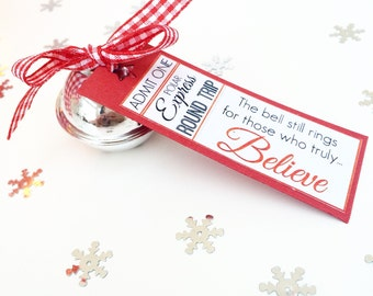 Polar Express Bell, Train Ticket Christmas Decoration, Believe Bell, Christmas Eve Box, Stocking Filler, Santa's Bell