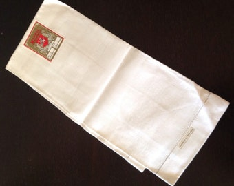 Vintage Irish White Demask Linen Towel