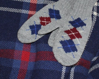 Vintage 1950s Wool Mittens Argyle Hand Knitted Kids Teens -B5