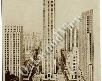 ON SALE New York City Rockefeller Center Real Photo Postcard, Manhattan NYC, Vintage 1944 Sepia Rppc Ephemera, Photographer Ratcliffe, Free