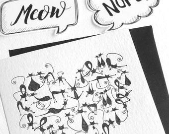Cat love card, Valentines Day, Letterpress, cat lover, cute black catsretro style illustration, kawaii, neko, fun animal card, black & white