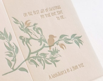 Christmas card, Letterpress, Australian themed. LARGE 'On the first day of Christmas my true love gave to me, a kookaburra in a Gum Tree'
