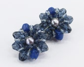 Vintage Signed Germany Clear Opaque Royal Blue Glass Faux Pearl Silvertone Beaded Cluster Clip On Earrings