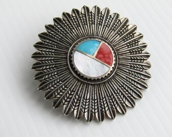 Unique Native American Feather Archer Brooch // Sterling Silver // Turquoise Coral // Southwestern
