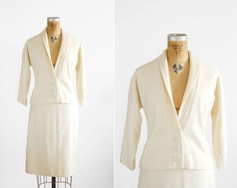 1950s Skirt Suit - 50s Skirt Suit - Cream Wool Jacket And Skirt Set