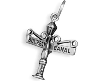 Sterling Silver Bourbon & Canal Street Sign New Orleans Charm Pendant