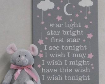 Star Light Star Bright First Star I See Tonight I Wish I May I Wish I Might Have This Wish I Wish Tonight - Gray Star Nursery Decor Wall Art