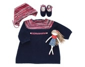 Knitted baby dress, cap and shoes.Dark blue, red and of white. 100% merino wool. READY to SHIP SIZE 3 months.