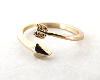 Arrow Ring, Gold Arrow, Adjustable Ring, Wrap Ring, Arrow Wrap Ring, Midi Ring, Boho, Bohemian