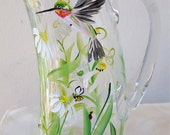 Hummingbird and daisies pitcher,handprinted glass, gift for her