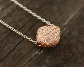 Rose Gold Pendant Necklace Inlaid with Micro Pave Diamond Cubic Zirconia