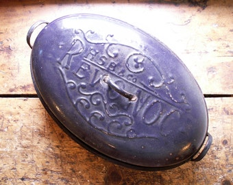 Vintage Large RevONoc Enamelware Roasting Pan in Dark Navy Blue