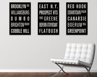 BROOKLYN Neighborhoods Collection of 3 Subway Sign Prints. Bus Scrolls.