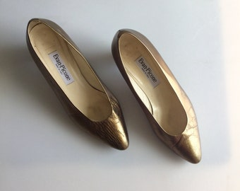 Vintage Gold Lame Pumps Made in Italy // Sz 9