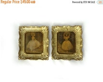 ON SALE Vintage pair ornate cream faux gilt plastic frames with overpainted ballet dancer prints, shabby chic