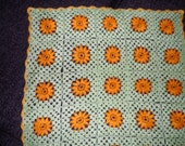 Green Crochet Granny Squuare Baby Blanket Afghan with Yellow Flowers