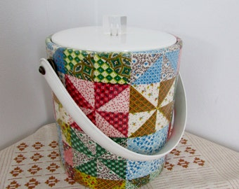 Retro Ice Bucket, 1970s Patchwork, Retro Bar, Party Time