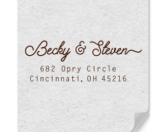 Personalized Address Stamp - Custom Stamp - Cursive Text Style - Modern - DIY Printing - Weddings - Housewarming - Personal Gifts - Simple