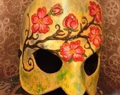 Spring Maiden Masquerade Leather Mask - Flower Branch - handmade venetian mardi gras halloween wearable art burning man renaissance