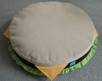 Cheeseburger Cat Bed made from Upholstery Velvet