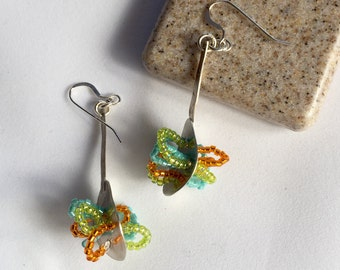 Handmade silver earrings,bead embroidered earrings, beaded earrings,orange turquoise and lime green earrings silver wire, handmade earring