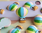 5pcs of colorful resin air ballon cabochon 30x23mm flatback