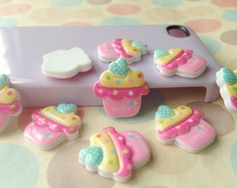9pcs of resin polka dots heart ice cream cupcake cabochon 22x20mm flatback pink