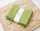 Custom Listing for JRS - 10 Large Cloth Napkins  (N2949) - Green Stripe Dots Modern Reusable Fabric Napkins