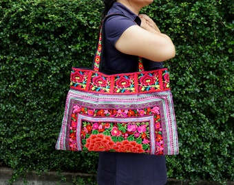 Large Hmong Ethnic Bag - Designed Hill Tribe Bag - Thailand Hmong Boho Bag - Flower Embroidered Fabrics Tote Bags