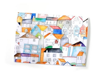 St Ives Rooftops Greeting Card, Blank Card, Any Occasion Card, Cornwall Card