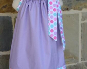Lilac and Spring Polka  Dot  Pillowcase Dress