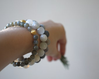 labradorite bracelet with gold vermeil.  tiny stones.  delicate bracelet. stacking bracelet.