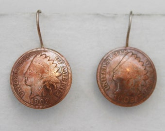 Old US Indian Head Penny - Coin Earring