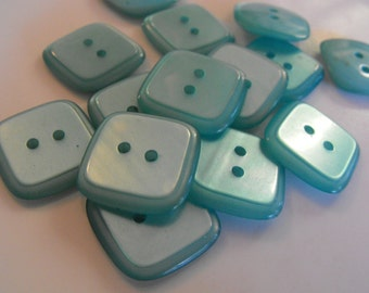 """10 Teal Shiny Large Square Buttons Size 13/16"""""""