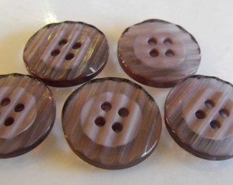 """5 Ash Gray Glassy Raked Round Buttons Size 3/4"""""""