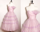 RESERVED FOR SARA 50s prom dress/ vintage prom dress/ vintage party dress/ tulle dress/ lilac purple pastel/ vintage bridesmaid/ cupcake