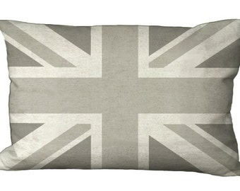 Gray Union Jack Oblong or Square in Choice of 18x12 20x13 22x12 24x16 14x14,16x16,18x18,20x20,22x22,24x24,26x26  Inch Pillow Cover