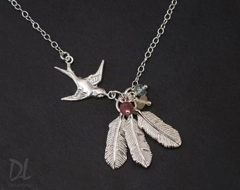 Silver Mama Bird Necklace, Personalized Family Birthstone Necklace, Gift for Mom, Gift for Grandma, Feather Necklace, Custom Charm Necklace
