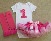 1st Birthday Girl Outfit, Hot Pink Candy Dot, Baby Girl 1st Birthday Outfit, Bodysuit, Pink Pettiskirt Tutu, Girls First Birthday Outfits