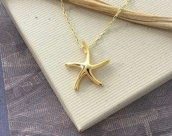 Starfish necklace, 18kt gold vermeil starfish, beach resort jewelry, star fish charm, sea life necklace N115L