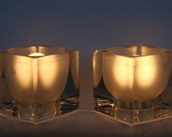 Mid Century German Pair of Crystal Glass Table Cube Lamps - Peill & Putzler 70s