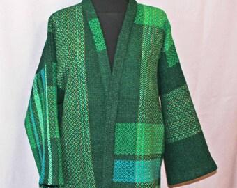 Kimono style green wool jacket, handwoven color block green jacket
